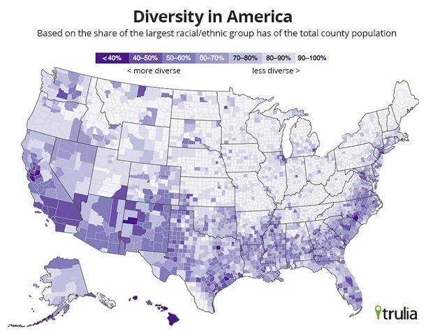 Ethnic Diversity Here And US Stats Chat - Us ethnicity map