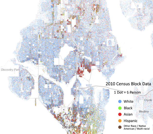 At This Smaller Scale There S A Lot More Clumping By Race With Black And Hispanic People Living At The Top And Bottom Of The Map