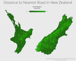 Distance to the nearest road in New Zealand